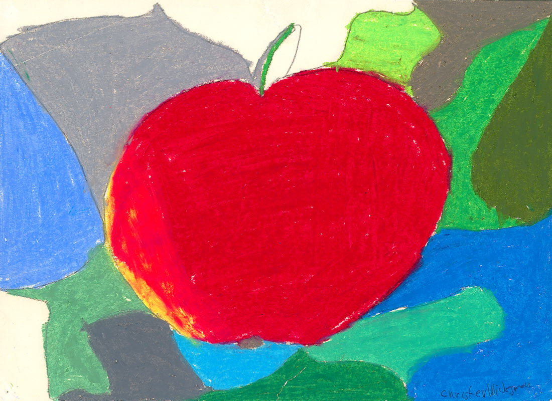 The apple, oil pastel, 1966